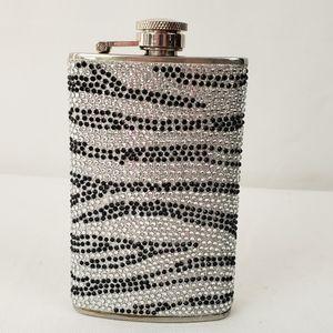 Black and crystal stone pave zebra hip flask VGUC